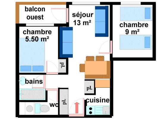 Quartier Napoleon - 3 pièces 7 personnes ** - CA0014