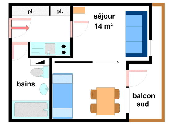Bouvreuil - Studio 3 personnes - BOU139