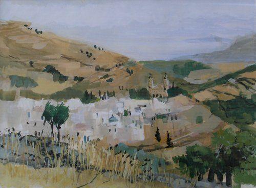 jean favre peintre langres gouache paysage des iles grecques.