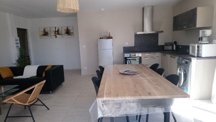 salon avec cuisine intégrée