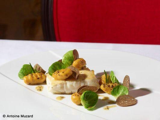 Le Carmin Beaune - Blanc de bar, gnocchi de potimarron, effeuillée de choux de Bruxelles et truffe de Bourgogne