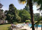 Piscine et palmiers à l'ombre d'un parc ombragé