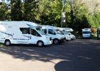 Aire de stationnement pour camping-cars en face de la Basilique de Lisieux entree