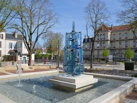 Sculpture urbaine en Verre : Élévation, bleus nymphéas