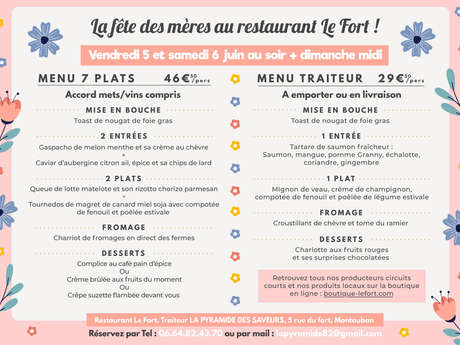 Le Fort restaurant mother's day menu