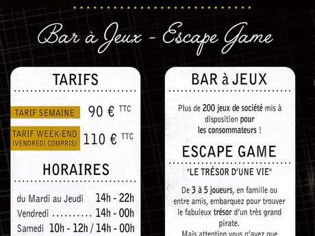 """Escape Game et bar à jeux """"Les Joueurs de la Taverne"""""""