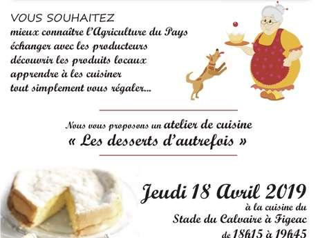 """Atelier de Cuisine, les Passeuses de Goût """"les Desserts d'Autrefois"""""""