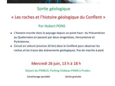 """SORTIE GEOLOGIQUE : """"LES ROCHES ET L'HISTOIRE GEOLOGIQUE DU CONFLENT"""""""