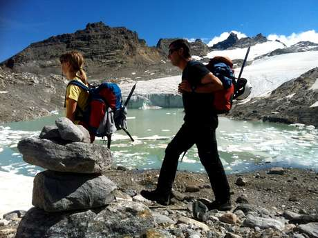 Alpinism and hike on glacier