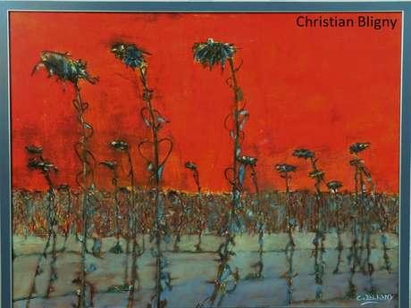 Exposition d'Elsa Cicchetti (linogravure), de Christian Bligny (essayeur de peinture) et Tiina Ferriere (céramiste)