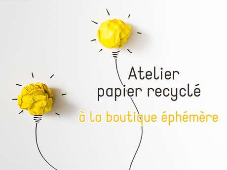 Atelier papier recyclé à la boutique éphémère