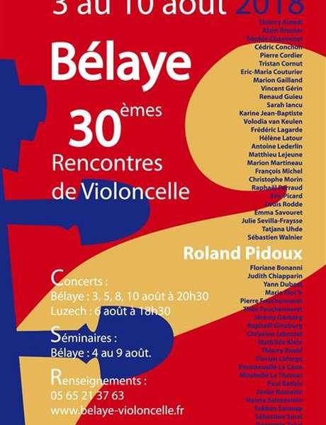 Concert réservé aux amis des rencontres: XXXèmes Rencontres de Violoncelle de Bélaye :