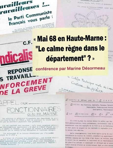 Les conférences du Jeudi : Mai 68 en Haute-Marne : le calme règne dans le département ?