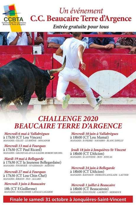 "Courses Camarguaise ""Challenge 2020 Beaucaire Terre d'Argence"""