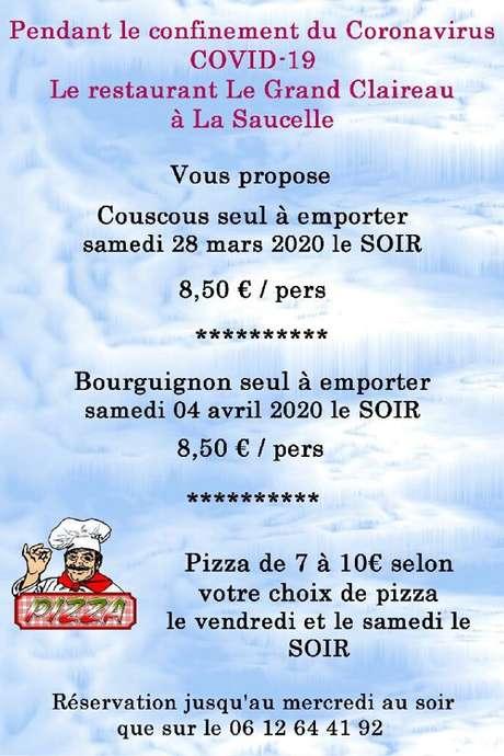 Plats à emporter - Cousous - bourguignon - pizza -Restaurant Le Grand Claireau - La Saucelle