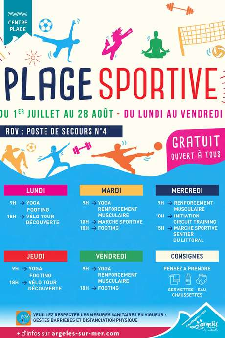 PLAGE SPORTIVE : YOGA - RENFORCEMENT MUSCULAIRE - INITIATION CIRCUIT TRAINING - MARCHE SPORTIVE SENTIER LITTORAL