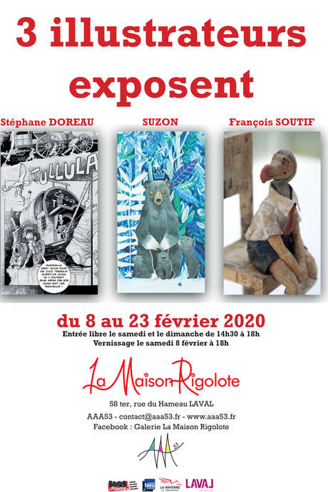 3 ILLUSTRATEURS EXPOSENT À LA MAISON RIGOLOTE