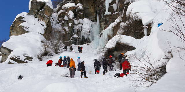 Ice climbing meeting