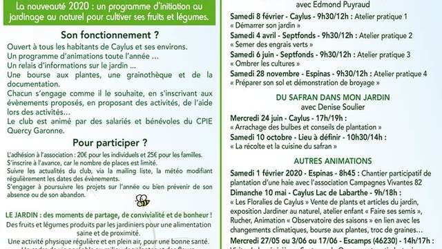 Club des jardiniers de Caylus : initiation au jardinage naturel